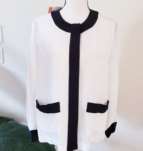 Joe Fresh White and Black Silk Button Blouse NWT